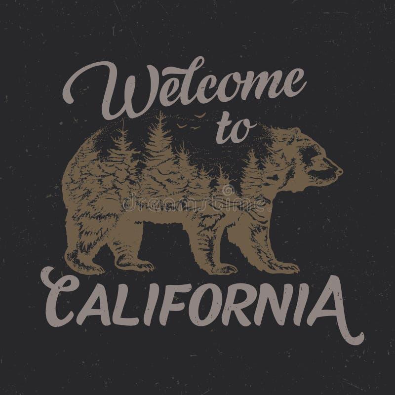Boa vinda ao projeto da etiqueta do t-shirt de Califórnia com ilustração da silhueta do urso ilustração stock