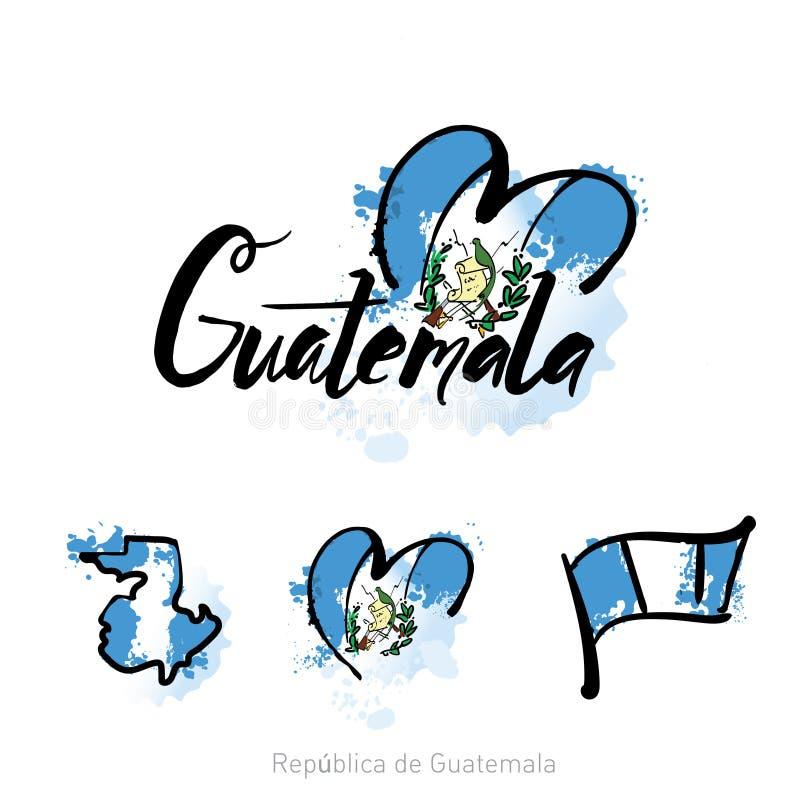 A boa vinda ao projeto do cartão e de letra de guatemala a Cidade da Guatemala na cor colorida do arco-íris e no ícone tipográfic ilustração royalty free