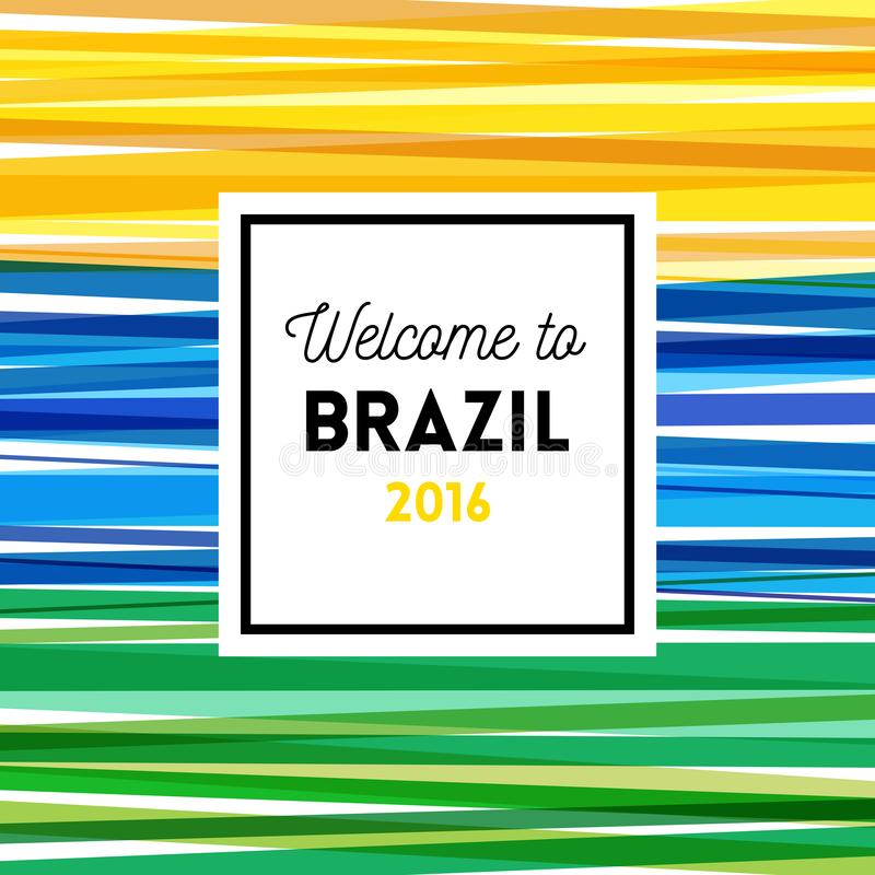 Boa vinda ao projeto do cartaz 2016 ou de cartão de Brasil ilustração stock