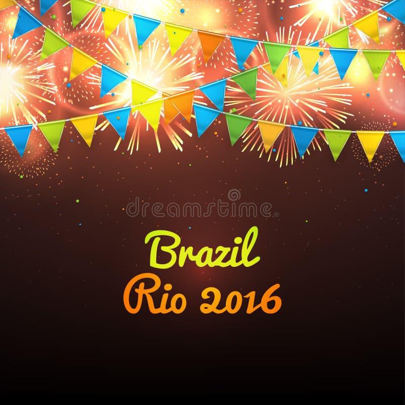 Boa vinda ao Rio 2016 de Brasil ilustração stock