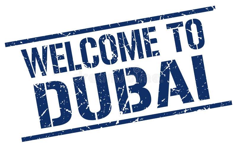 Boa vinda ao selo de Dubai ilustração stock