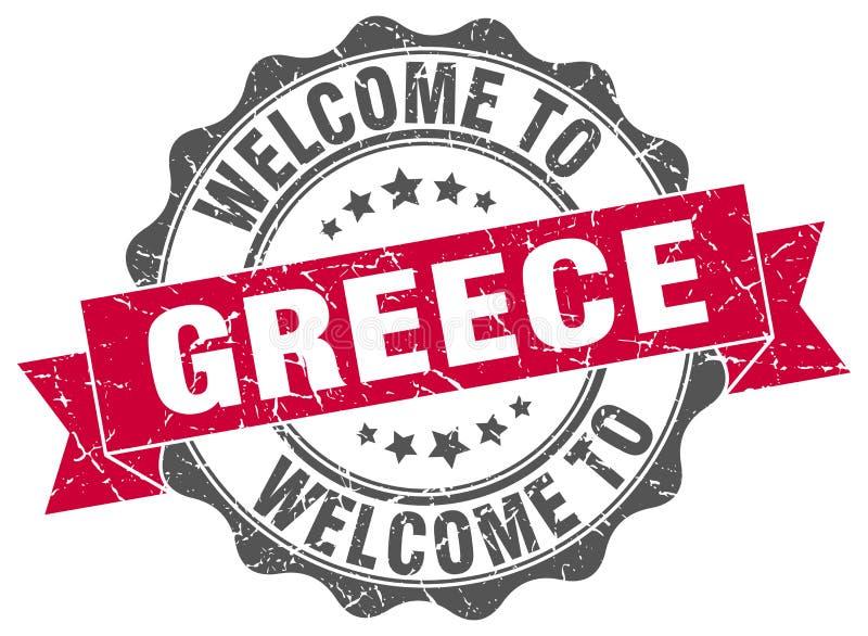 Boa vinda ao selo de Grécia ilustração royalty free