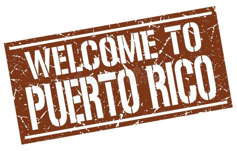 boa vinda ao selo de Porto Rico ilustração do vetor