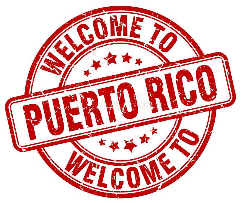 boa vinda ao selo de Porto Rico ilustração royalty free