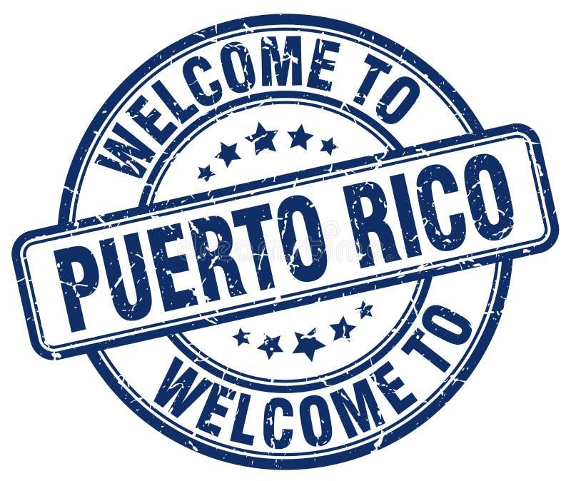 boa vinda ao selo de Porto Rico ilustração stock