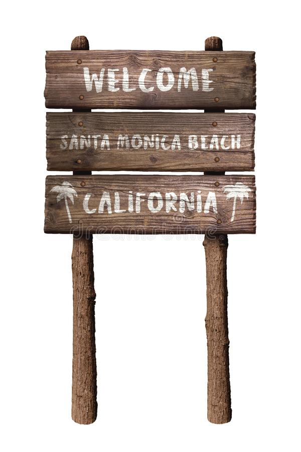 Boa vinda ao sinal da placa de Santa Monica Beach In California Wooden isolado no fundo branco fotografia de stock royalty free