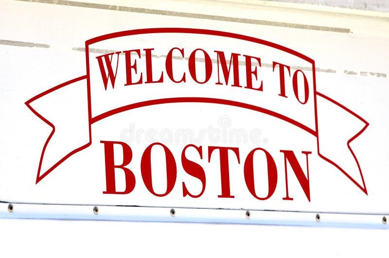 Boa vinda ao sinal de Boston fotografia de stock