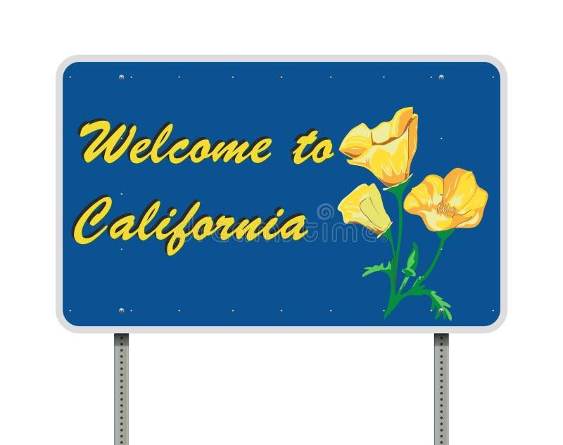 Boa vinda ao sinal de estrada de Califórnia ilustração stock
