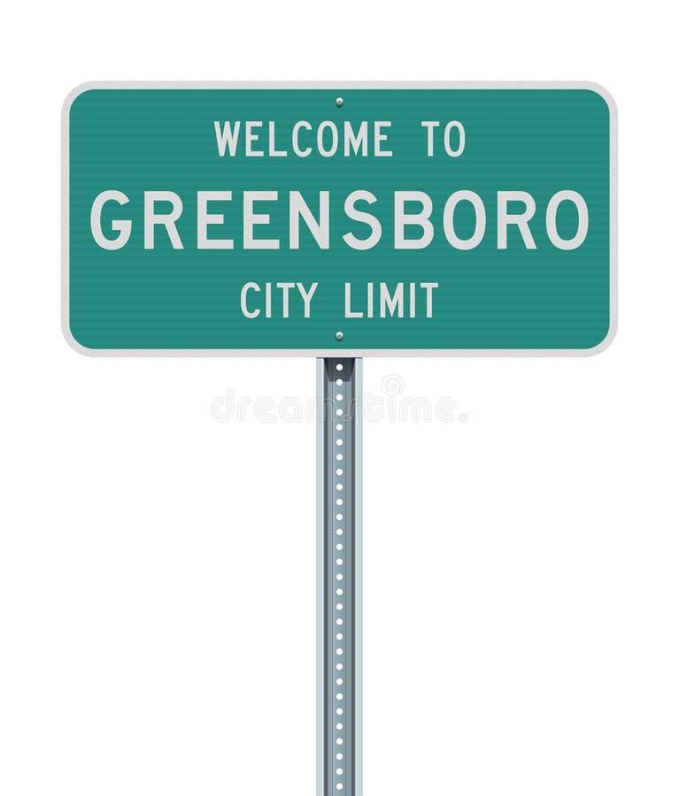 Boa vinda ao sinal de estrada do limite de cidade de Greensboro ilustração stock
