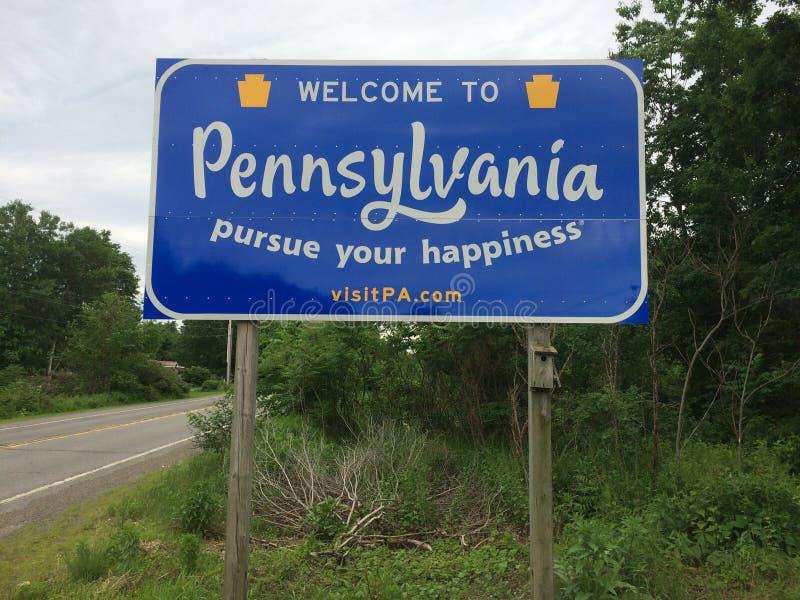 Boa vinda ao sinal de estrada de Pensilvânia fotografia de stock royalty free
