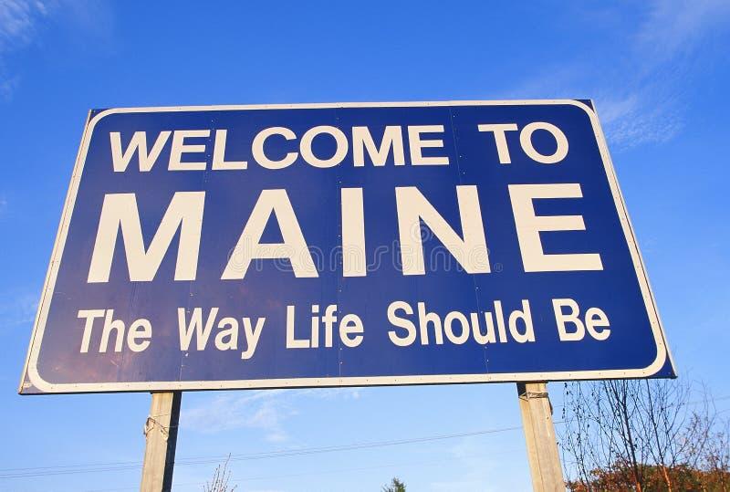 Boa vinda ao sinal de Maine fotos de stock royalty free