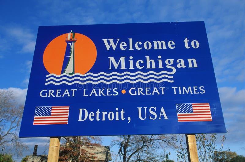 Boa vinda ao sinal de Michigan imagens de stock royalty free