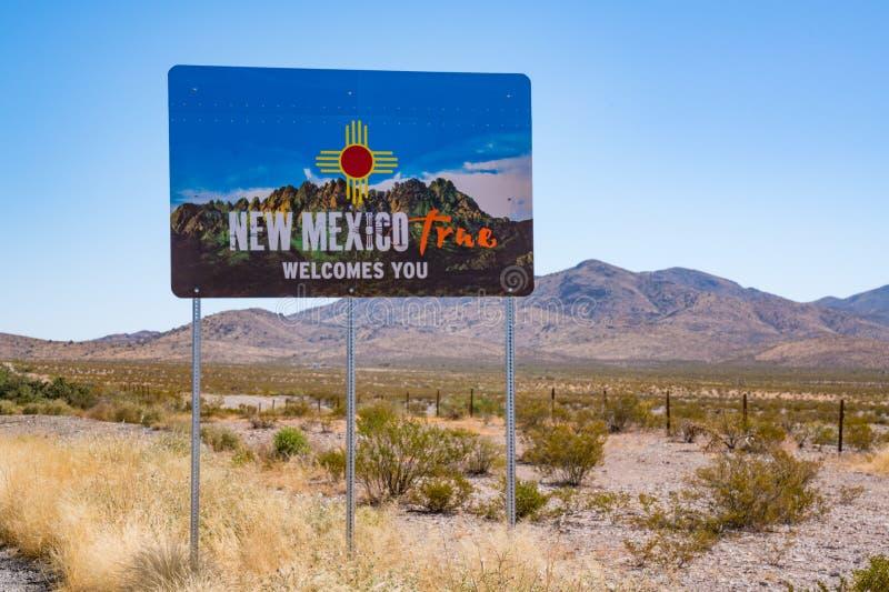 Boa vinda ao sinal de New mexico fotografia de stock