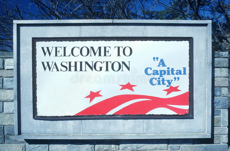 Boa vinda ao sinal do distrito de Columbia fotos de stock royalty free