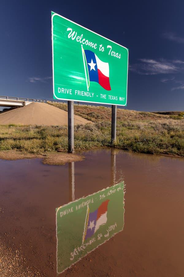 Boa vinda ao sinal do estado de Texas imagens de stock royalty free
