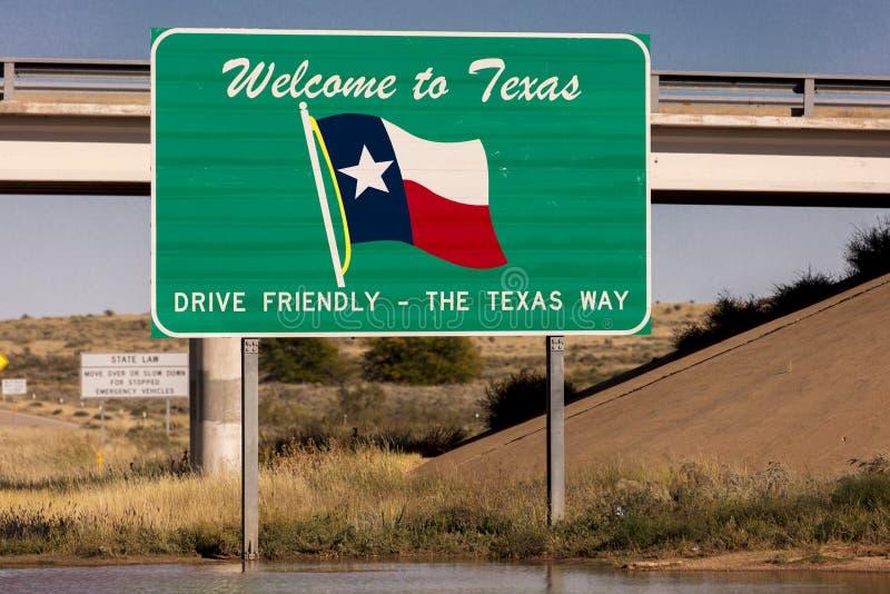 Boa vinda ao sinal do estado de Texas imagem de stock