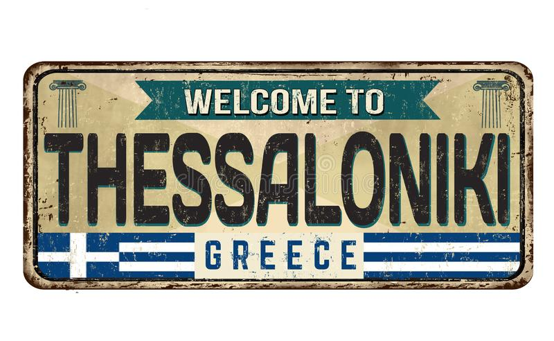 Boa vinda ao sinal oxidado do metal do vintage de Tessalónica ilustração royalty free