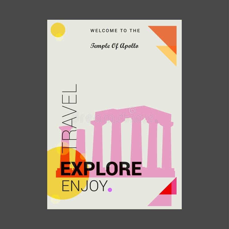 Boa vinda ao templo de Apollo Attica, Grécia Explore, viaje ilustração royalty free