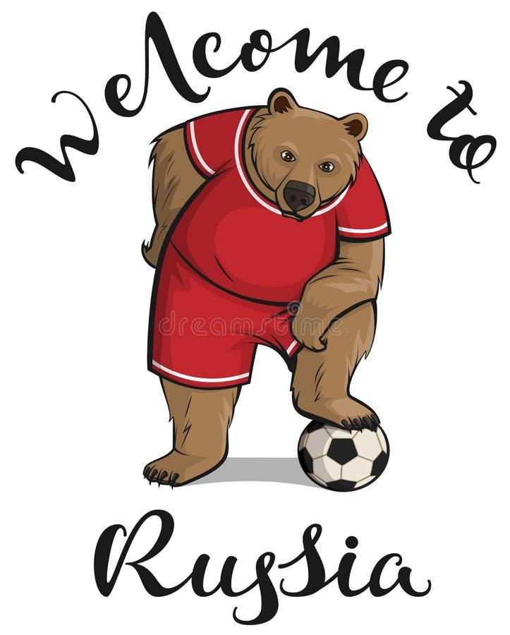 A boa vinda ao texto de Rússia e ao jogador do urso pisou o pé na bola de futebol ilustração royalty free