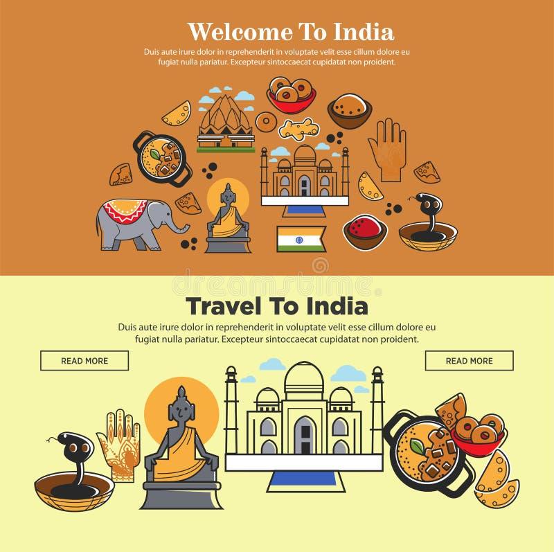 A boa vinda aos cartazes de viagem da Índia ajustou a ilustração do vetor ilustração royalty free