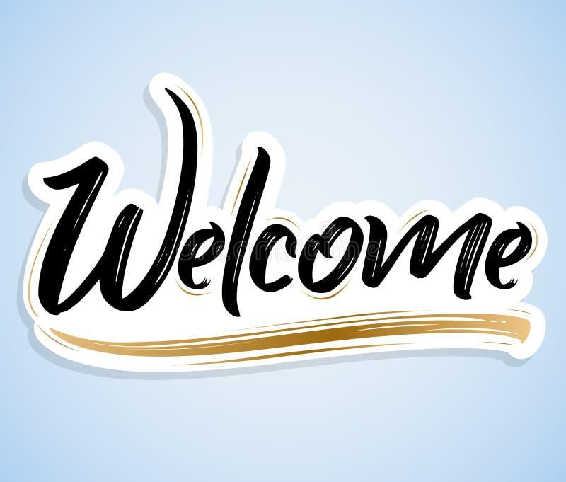 Boa vinda - bandeira da ilustração do vetor da rotulação da mão ilustração do vetor
