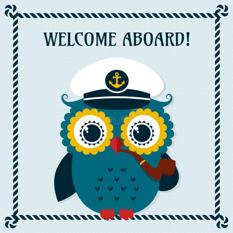Boa vinda a bordo! Cartão do vetor com coruja