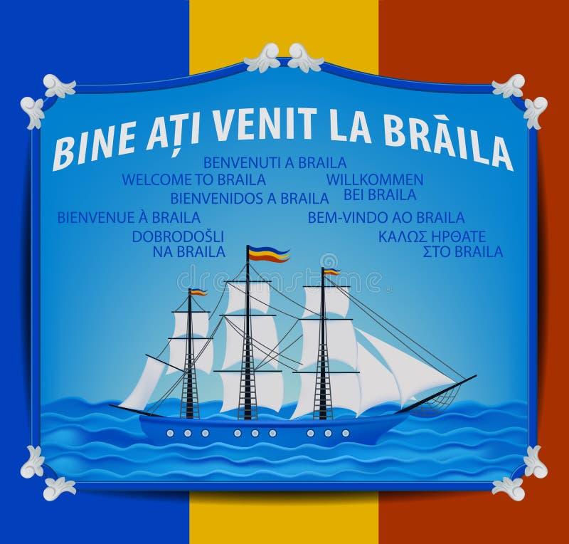 Boa vinda a Braila - etiqueta - barco de vela - navio - ícone - Signage - Danúbio ilustração do vetor