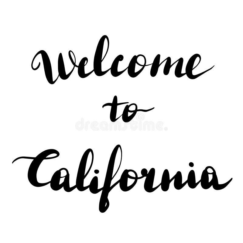 Boa vinda a Califórnia que rotula a inscrição ilustração stock