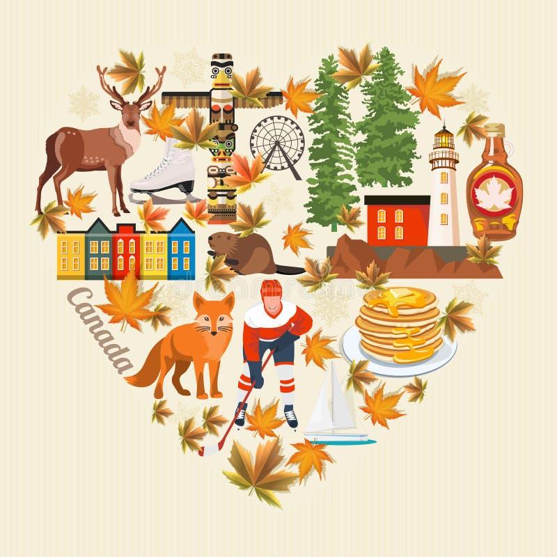 Boa vinda a Canadá Forma do coração Projeto claro Cartão colorido Ilustração canadense do vetor Estilo retro Cartão do curso ilustração royalty free
