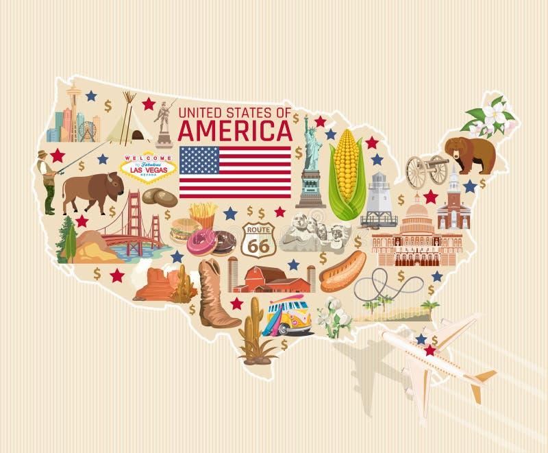 Boa vinda a cartão detalhado dos EUA Cartaz do Estados Unidos da América com estátua da liberdade ilustração do vetor
