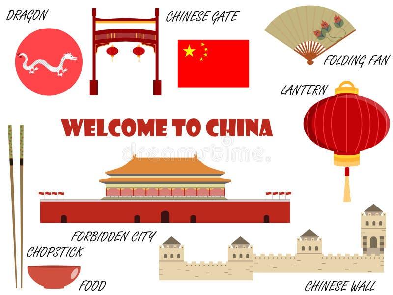 Boa vinda a China Símbolos de China Jogo dos ícones Vetor ilustração stock