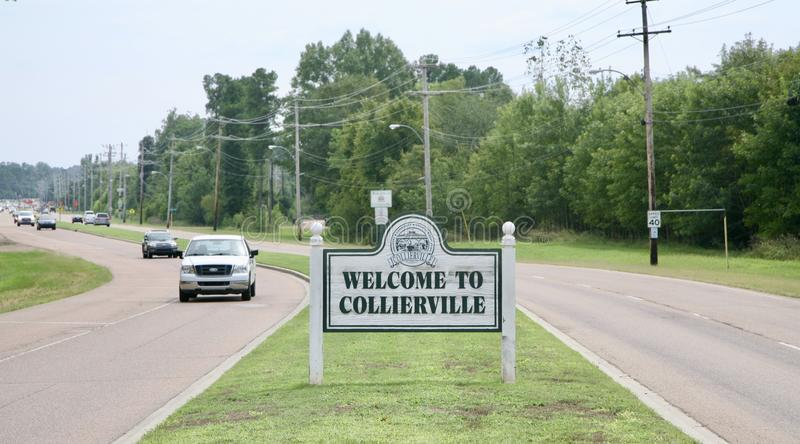 Boa vinda a Collierville, Tennessee fotografia de stock