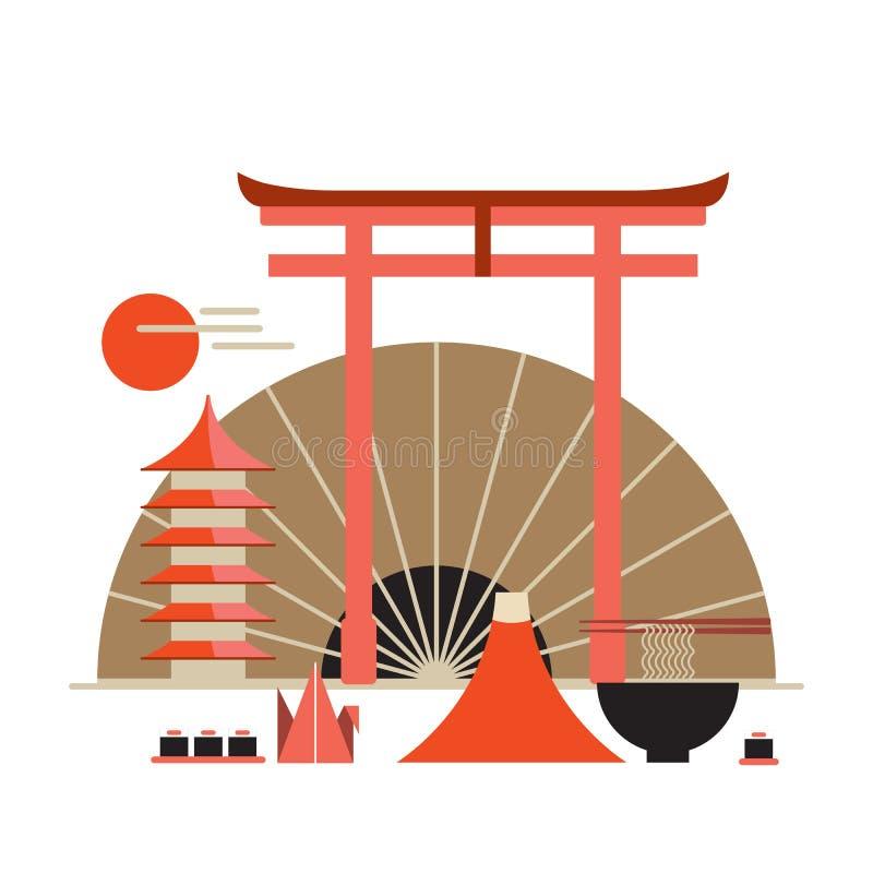 Boa vinda da coleção dos elementos do projeto de Ásia à bandeira de Japão ilustração do vetor