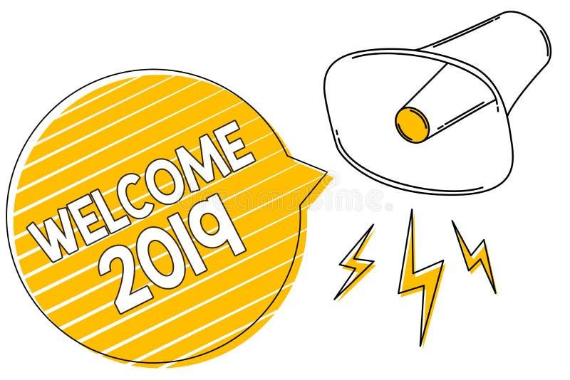 Boa vinda 2019 da escrita do texto da escrita Conceito que significa a motivação da celebração do ano novo ligar o megafone l das ilustração do vetor