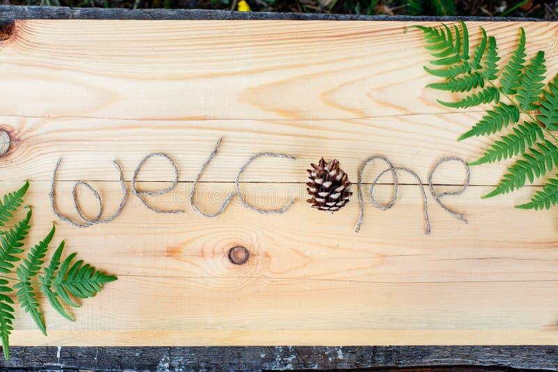A boa vinda da inscrição em um fundo de madeira com flores selvagens e espaço da cópia fotografia de stock
