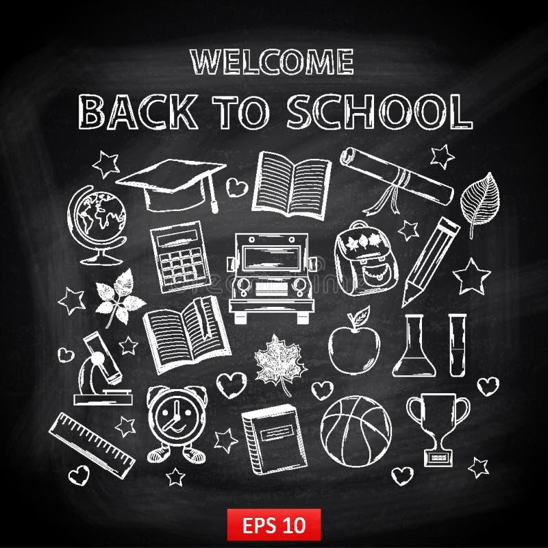 Boa vinda da placa de giz de volta à escola ilustração royalty free