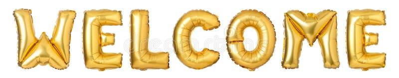 BOA VINDA das letras de caixa dos balões dourados imagens de stock