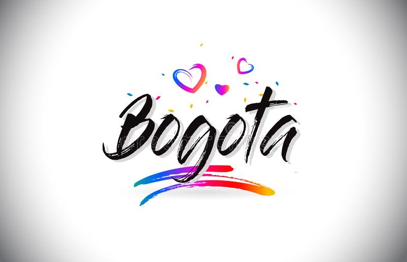 Boa vinda de Bogotá para exprimir o texto com corações do amor e vetor escrito à mão criativo do projeto da fonte ilustração royalty free