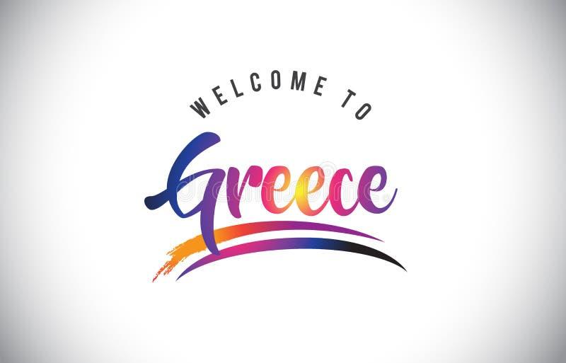 Boa vinda de Grécia à mensagem em cores modernas vibrantes roxas ilustração do vetor