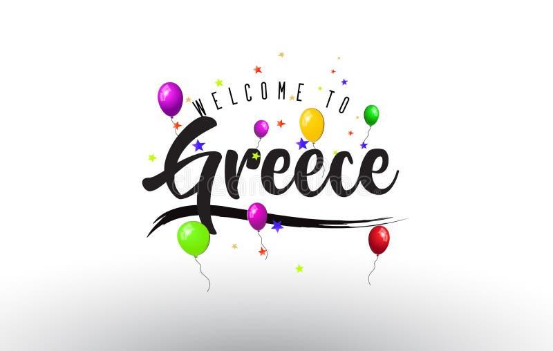 A boa vinda de Grécia ao texto com balões coloridos e as estrelas projetam ilustração stock