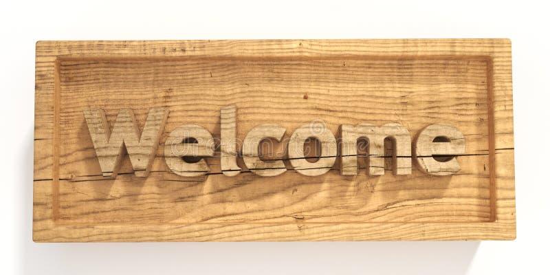 Boa vinda de madeira do sinal ilustração stock