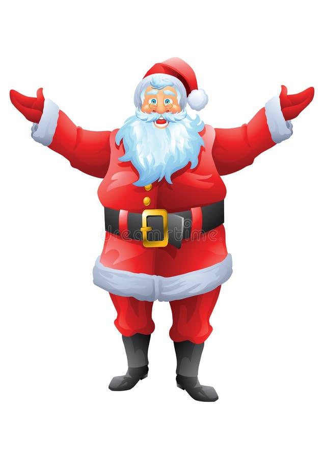 Boa vinda de Papai Noel com as mãos abertas isoladas ilustração do vetor