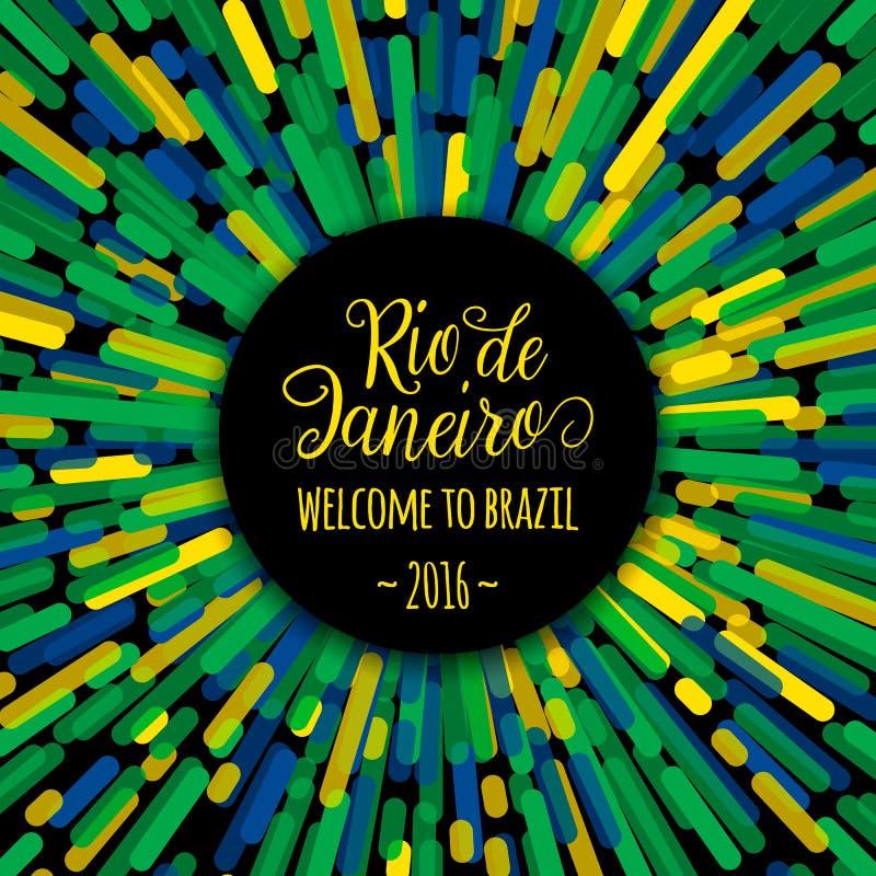 Boa vinda de Rio de janeiro do sinal do texto das citações da motivação da rotulação a Brasil 2016 Cartão da congratulação do mol ilustração stock
