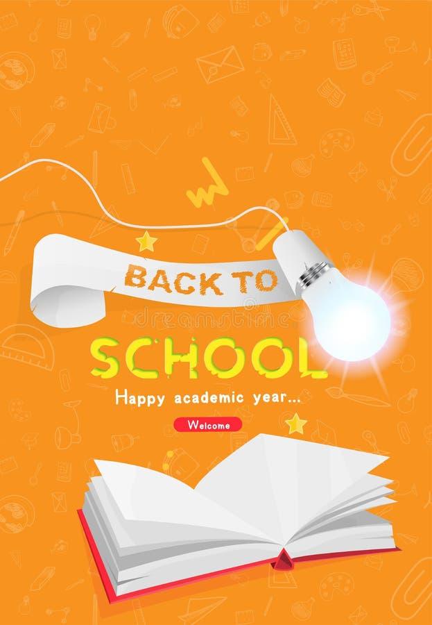 Boa vinda de volta à escola Bandeira vertical com fita, livro e grupo de ícones da garatuja e a ampola realística com iluminação ilustração royalty free