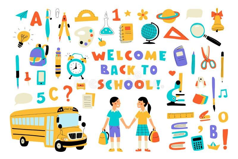 Boa vinda de volta à escola, grupo colorido da garatuja bonito com rotulação Entregue a ilustra??o tirada do vetor, isolada no br ilustração stock