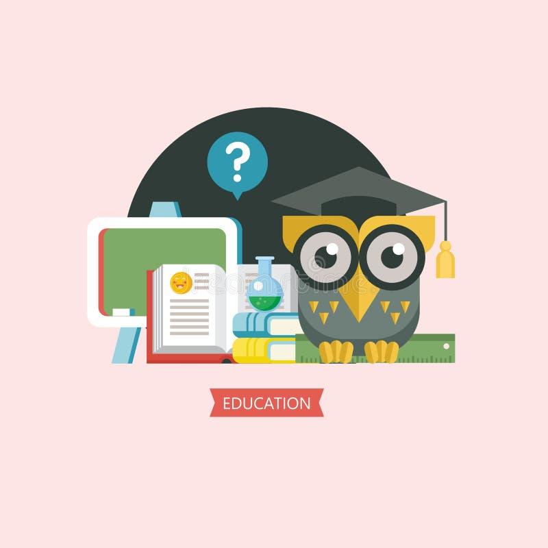 Boa vinda de volta à escola Uma coruja sábia em um tampão acadêmico Em do vetor ilustração do vetor