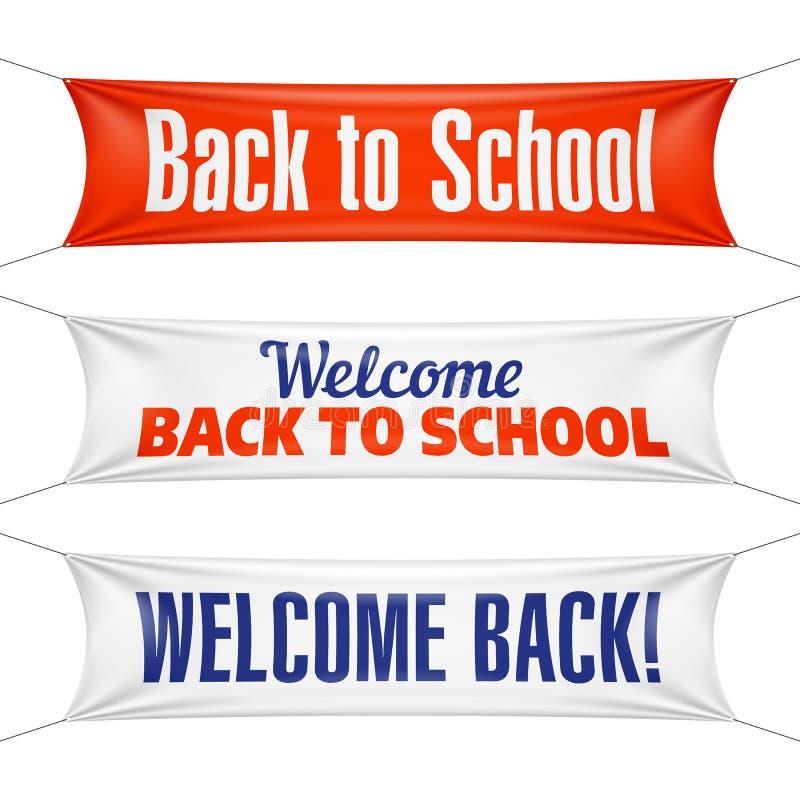 Boa vinda de volta às bandeiras de escola ilustração royalty free