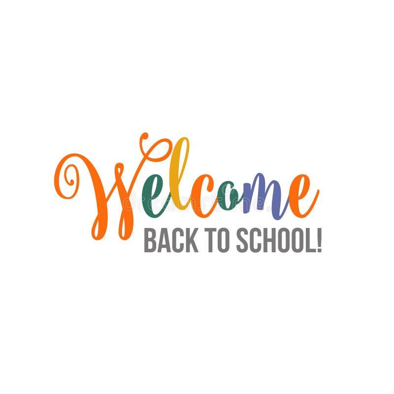 Boa vinda de volta ao cartaz da rotulação da escova da escola, bandeira, projeto do cartão ilustração royalty free