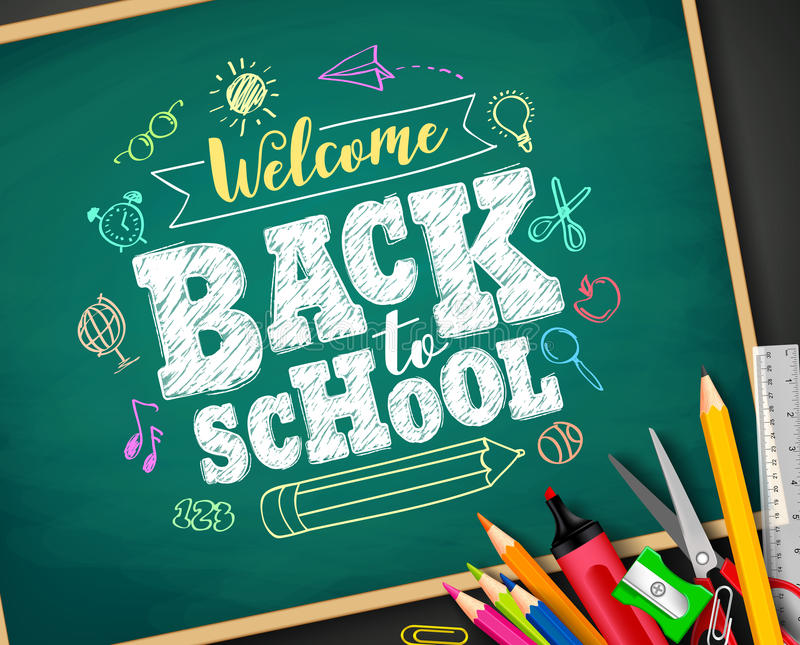 Boa vinda de volta ao desenho do texto de escola pelo giz colorido no quadro-negro ilustração do vetor