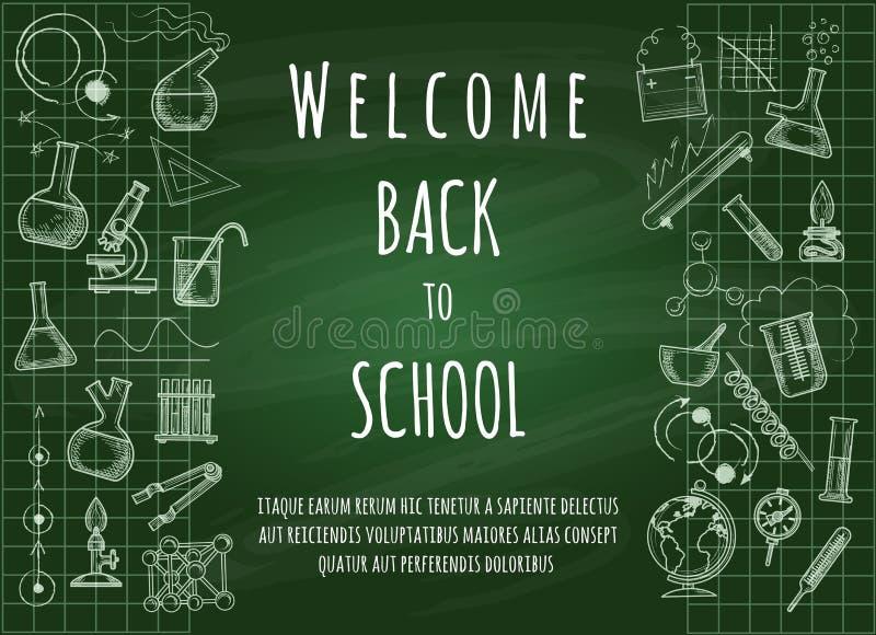 Boa vinda de volta ao fundo da escola ilustração royalty free